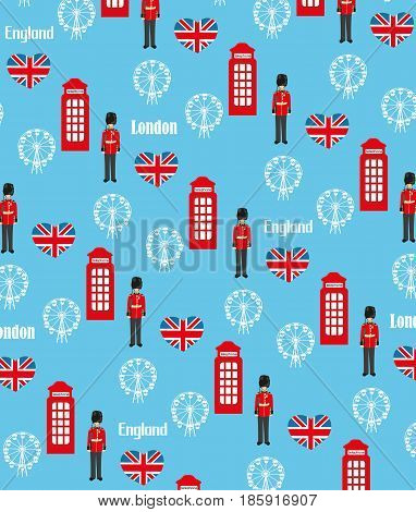 Seamless pattern background with London symbols , vector illustration