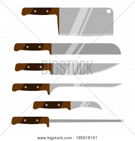 Set of kitchen knives. Kitchen utensils. Vector knife. Isolated on white background.