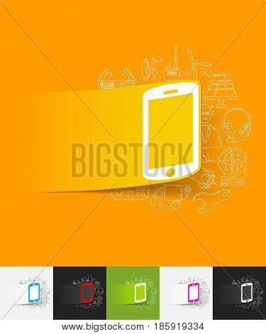 hand drawn simple elements with smartphone paper sticker shadow