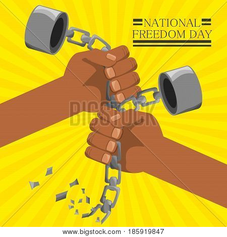 hands broken of chain to celebrate freedom day, vector illustration