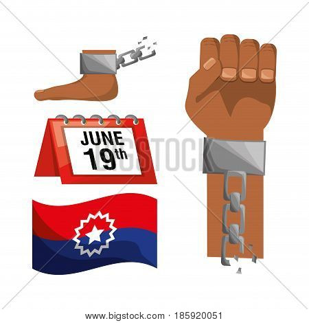 chain in the hand and foot with calendar and flag, vector illustration