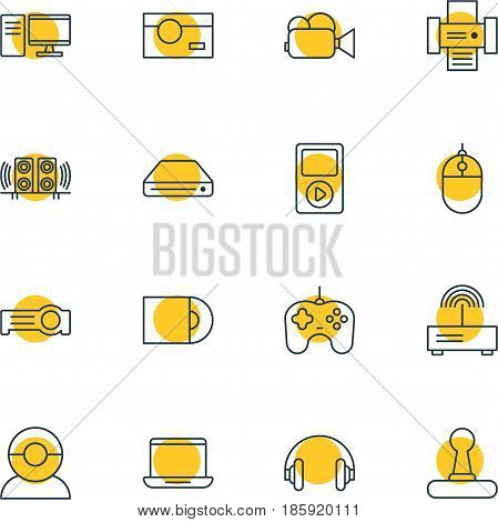 Vector Illustration Of 16 Device Icons. Editable Pack Of Joypad, Floodlight, Memory Storage And Other Elements.