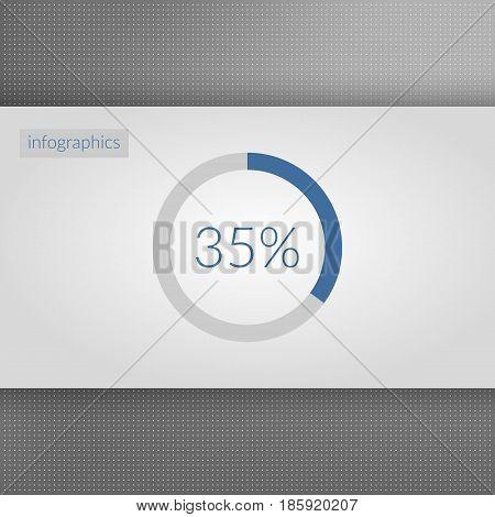 35 percent pie chart symbol. Percentage vector infographics. Circle diagram sign. Business illustration