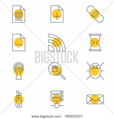 Vector Illustration Of 12 Internet Icons. Editable Pack Of Document Adding, Letter, Sandglass Elements.