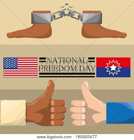 feet with chain and all good hands to celebrate freedom, vector illustration