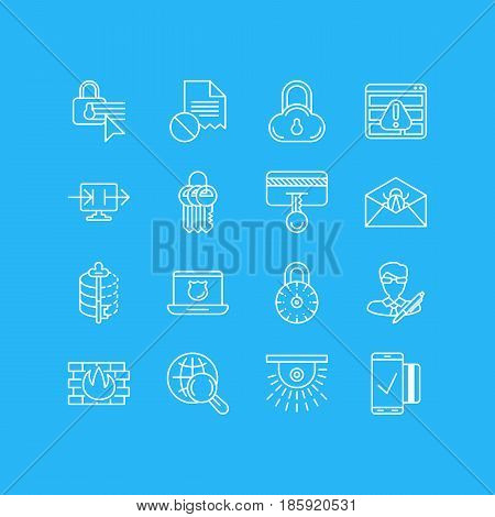 Vector Illustration Of 16 Data Protection Icons. Editable Pack Of Copyright, Encoder, Safe Lock And Other Elements.