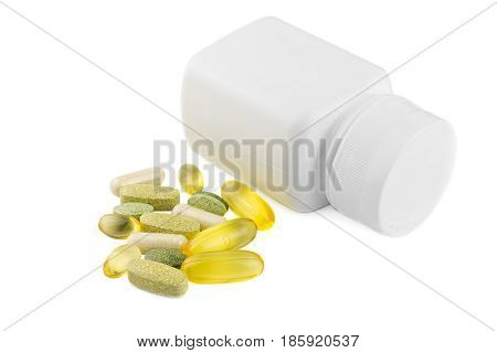Vitamin complex omega 3 glucosamine capsules multivitamin supplements and white container isolated on white background.