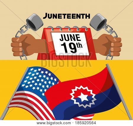 chain in the hands and calendar with flags to celebrate freedom, vector illustration