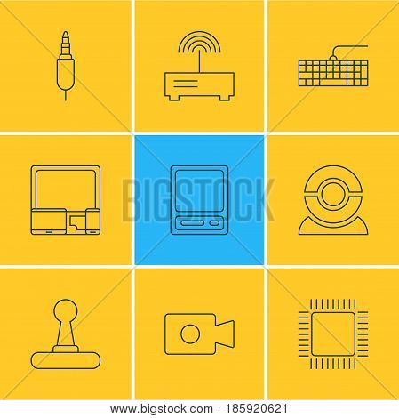 Vector Illustration Of 9 Laptop Icons. Editable Pack Of Microprocessor, Movie Cam, Gadgets And Other Elements.