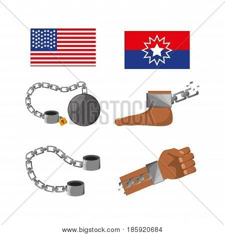 set of, flags, chains, foot and hand to celebrate freedom, vector illustration