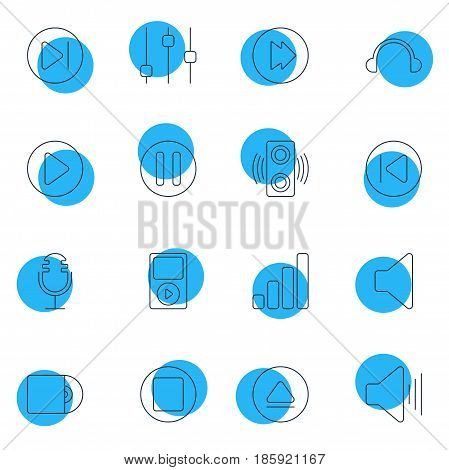Vector Illustration Of 16 Music Icons. Editable Pack Of Lag, Mp3, Start And Other Elements.