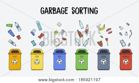 Garbage sorting concept. Trash cans with different types of garbage. Colorful hand drawn doodle illustration