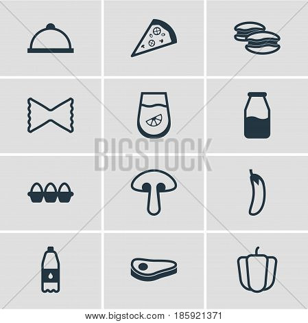 Vector Illustration Of 12 Food Icons. Editable Pack Of Beefsteak, Fungus, Cruet And Other Elements.