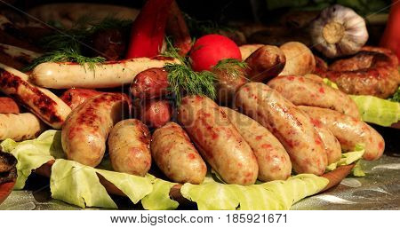 Bavarian sausages on the table before the dinner