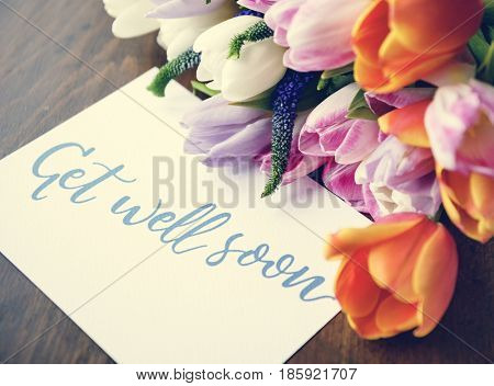 Get well soon message flower balance