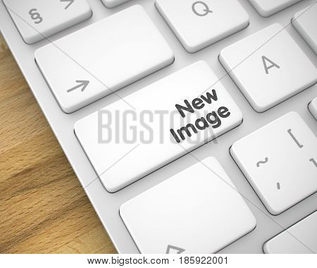 New Image Written on the White Key of White Keyboard. White Keyboard Button Showing the Inscription New Image. Message on Keyboard White Keypad. 3D Illustration.