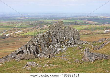 Granite rocks of Sourton Tor on Dartmoor