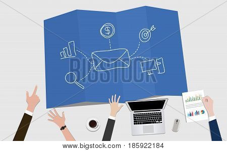 email newsletter marketing concept illustration with mail envelope and target vector
