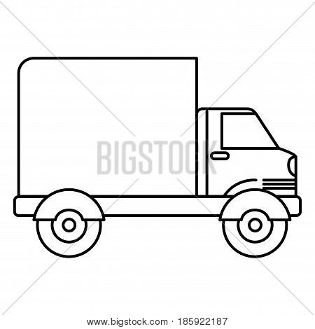 black silhouette of truck with wagon vector illustration