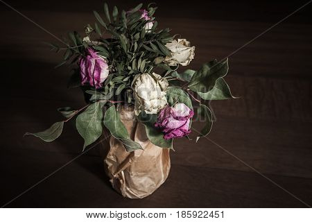 Bouquet Of Dried Red And White Roses, Close Up