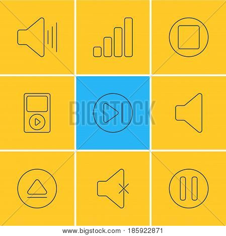 Vector Illustration Of 9 Melody Icons. Editable Pack Of Pause, Speaker, Lag And Other Elements.