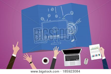 video marketing concept illustration with monitor video vlog and team work on marketing vector