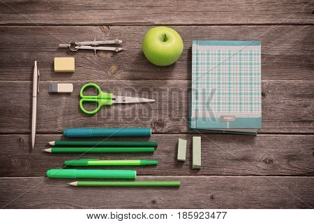 the school stationary on old wooden table