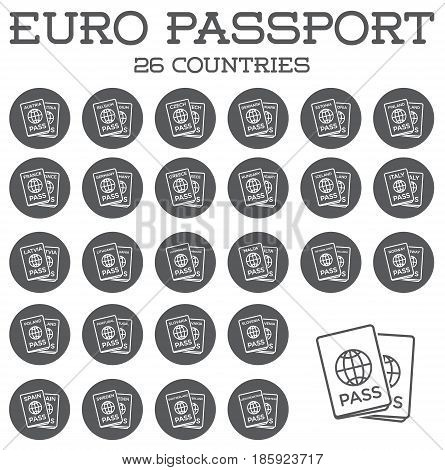 Set of Citizenship or Foreign Passport ID in Vector Colorful Icon can use as Logo EPS 10