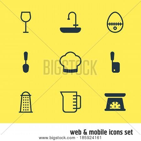 Vector Illustration Of 9 Cooking Icons. Editable Pack Of Washstand, Chef Hat, Breakfast Elements.