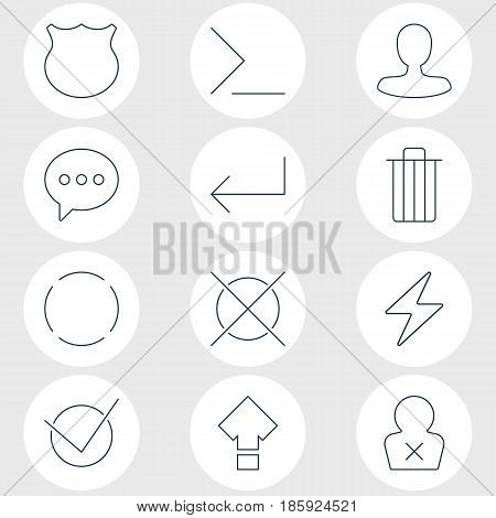 Vector Illustration Of 12 Interface Icons. Editable Pack Of Guard, Man Member, Accsess And Other Elements.