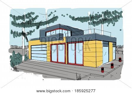 Hand drawn cottage. modern private residential house. colorful sketch illustration