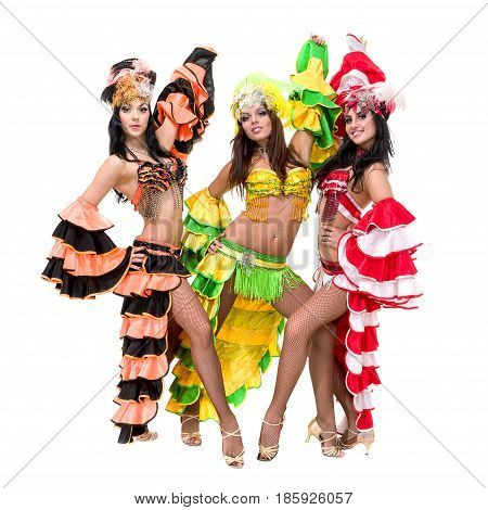 samba dancer team dancing isolated on white background in full length