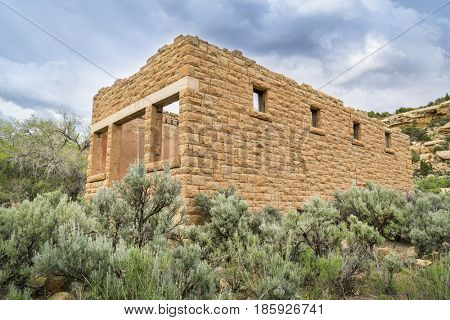 Ruins of coal mining company general store at the ghost town of Sego in Book Cliffs area of eastern Utah