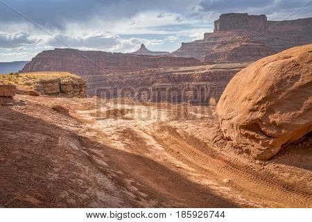 Chicken Corner - a popular 4wd trail coming to the edge of the Colorado River canyon in the Moab area, Utah