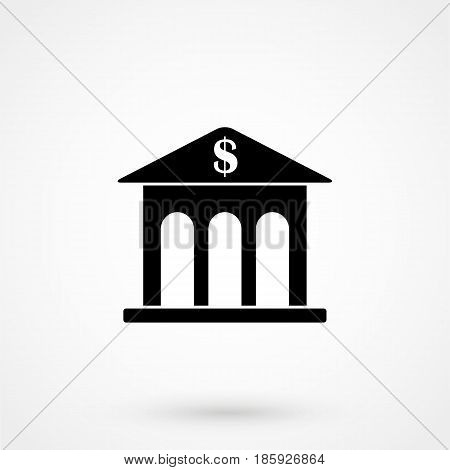 Bank Building Icon Flat Design Isolated On Background