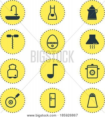 Vector Illustration Of 12 Kitchenware Icons. Editable Pack Of Soup Spoon , Washstand, Refrigerator Elements.