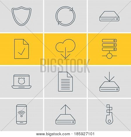 Vector Illustration Of 12 Network Icons. Editable Pack Of Telephone, Server, Information Load And Other Elements.