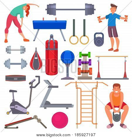 Sport gym equipment flat style icons and characters healthy lifestyle club machine training exercise vector illustration. Fit workout muscular physical bodybuilding activity people