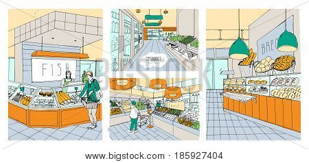 Supermarket interior hand drawn colorful illustrations set. Grocery store fish, bread, fruit, vegetable departments with shoppers