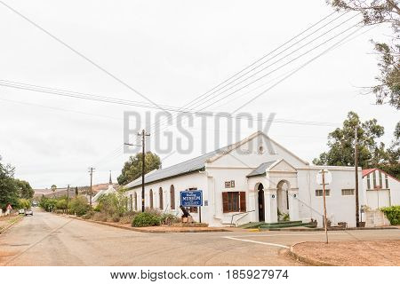 DARLING SOUTH AFRICA - MARCH 31 2017: A street scene with the museum housed in the historic town hall in Darling