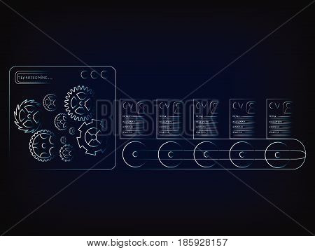 resumes coming out of factory machine production line (vector illustration with neon effect on mesh background)