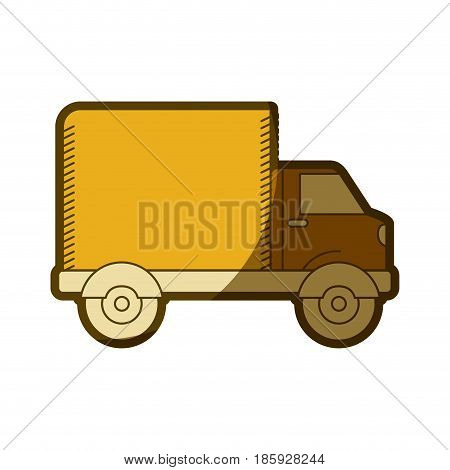 yellow aged silhouette of truck with wagon vector illustration