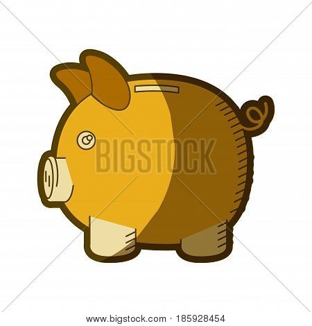yellow aged silhouette of moneybox in shape of pig vector illustration