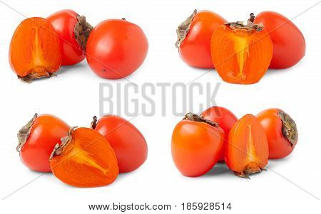 Persimmon isolated on white background. Set or collection.