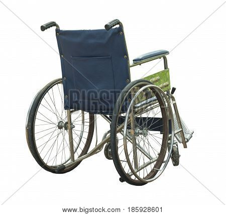 Old wheel chair isolated on white background.