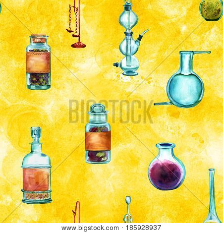 Vintage Science seamless background pattern with chemistry objects. Jars, bottles, containers, apparatuses, hand painted in watercolours on a golden yellow background, forming a repeat print