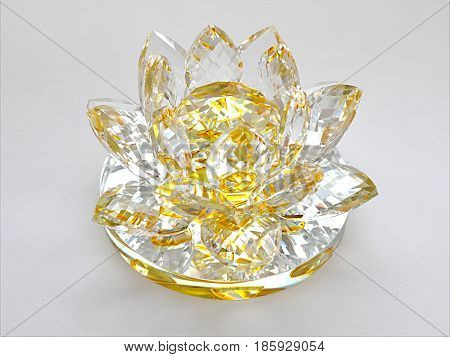 detail view and clear glass decoration and white background
