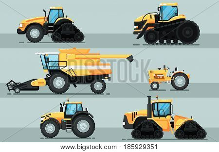 Modern agricultural vehicle isolated set. Caterpillar tractor, combine harvester, crawler tractor vector illustration. Rural industrial farm equipment machinery, comercial transport in flat design poster