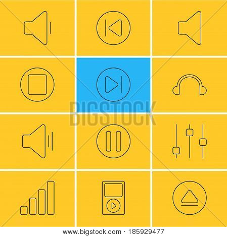 Vector Illustration Of 12 Music Icons. Editable Pack Of Mp3, Subsequent, Pause And Other Elements.