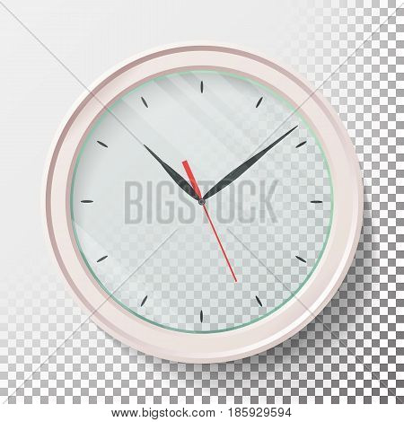 Realistic Wall Clocks Set Vector Illustration. Wall Analog Clock.